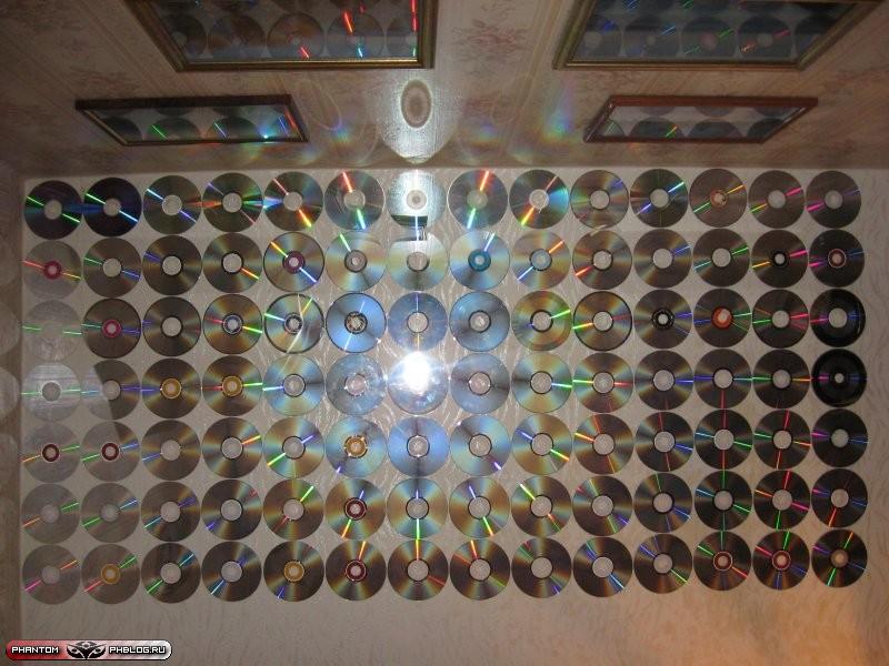 Декор стен из дисков своими руками 30