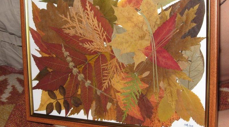 Картина листьями
