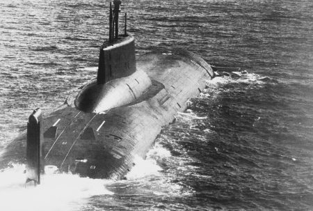 A starboard quarter view of a Soviet Typhoon Class ballistic missile submarine underway.