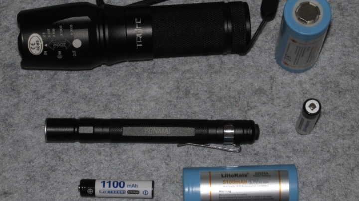 Обзор фонарей L2 на 26650 и Q5 на 2xAAA